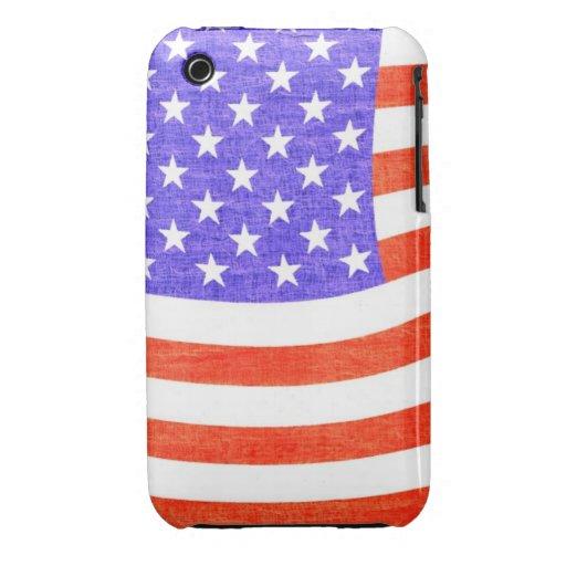 Linen USA Flag Case Case-Mate iPhone 3 Case