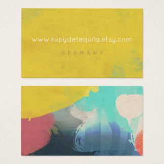 Linen Watercolour art Yellow Paint Colourful Business Card