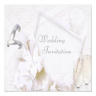 Linen Wedding Bands & Champagne Flutes Invitation