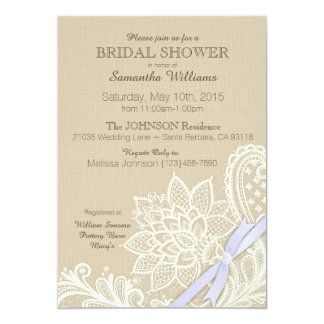 Linen White Lace and Lavender Ribbon Bridal Shower Card