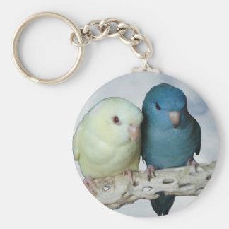Lineolated parakeet pair basic round button keychain