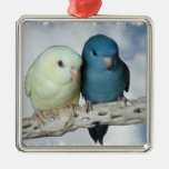Lineolated parakeet pair christmas tree ornament