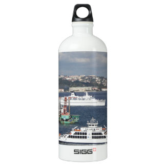 Liner and Ferry In The Bosphorus Aluminum Water Bottle
