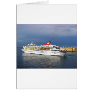 Liner leaving Malta. Card