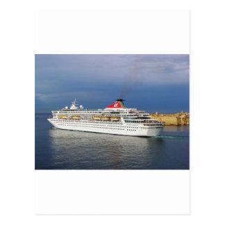 Liner leaving Malta. Postcard