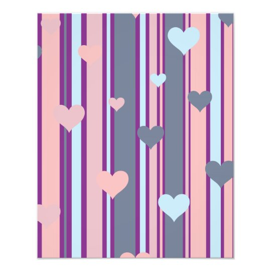 Lines and Hearts Pink and Blue Photo Print