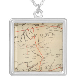 Lines and Metallic Circuit Connections Silver Plated Necklace