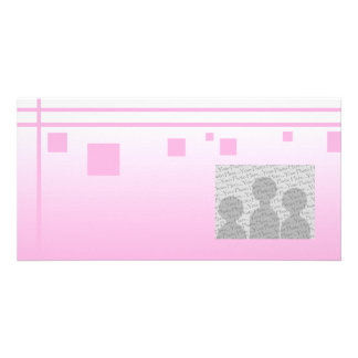 Lines and Squares. Pink Abstract Design. Customized Photo Card