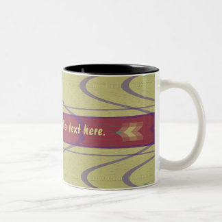 Lines and Waves on Khaki Two-Tone Coffee Mug