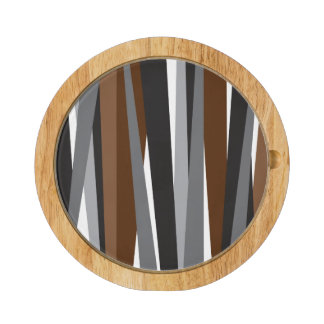 Lines | Brown Black Pattern Design Cheese Platter