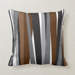 Lines | Brown Black Pattern Design Throw Pillow