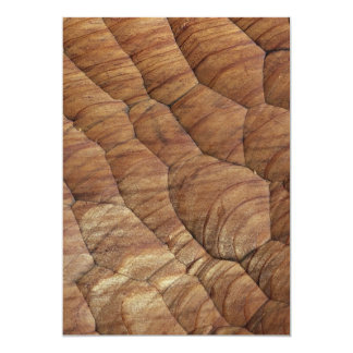 """Lines carved in pale brown wood 5"""" x 7"""" invitation card"""