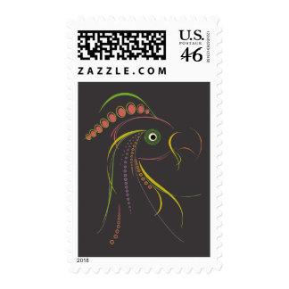 Lines Color Bird Dark Stamps