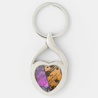 Lines Color Stripes Patterns Orange and Purple Silver-Colored Heart-Shaped Metal Keychain