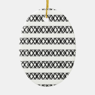 Lines Everywhere Double-Sided Oval Ceramic Christmas Ornament