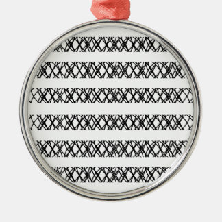 Lines Everywhere Round Metal Christmas Ornament