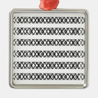 Lines Everywhere Square Metal Christmas Ornament