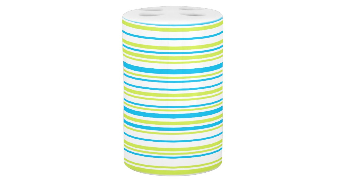 Lines lime blue white bathroom set zazzle for Blue and white bathroom set