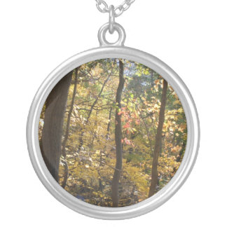 Lines of fall round pendant necklace