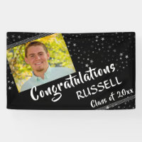 Lines & Stars | Editable Black | Photo Graduation Banner