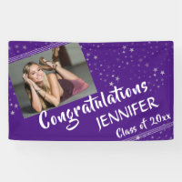 Lines & Stars | Editable Purple | Photo Graduation Banner