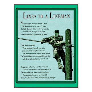 Lines to a Lineman Vintage Ma Bell Poster