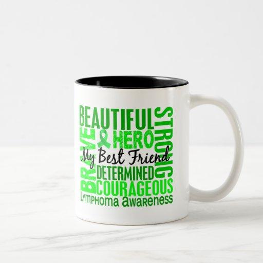 Linfoma femenino cuadrado del mejor amigo del trib tazas de café