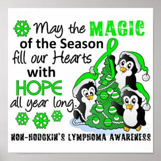 Linfoma Non-Hodgkin de los pingüinos del navidad Póster
