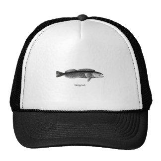 Lingcod (blanco y negro) gorras de camionero