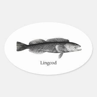 Lingcod (blanco y negro) pegatinas de oval personalizadas