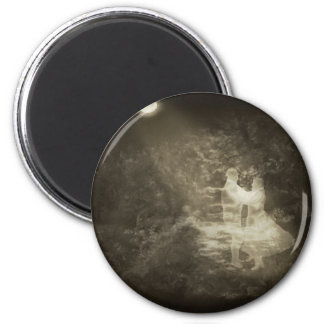 Linger in the Moonlight 1 Antiqued 2 Inch Round Magnet