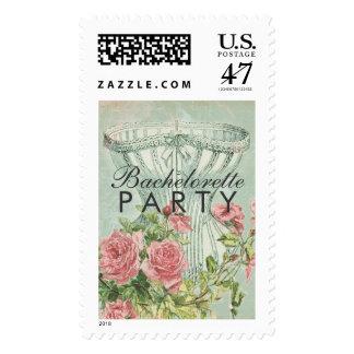 Lingerie Bachelorette Party Vintage Pink Roses Postage