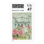 Lingerie Bachelorette Party Vintage Pink Roses Postage Stamp