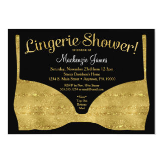 Lingerie Bridal Shower Invitation Gold Glam