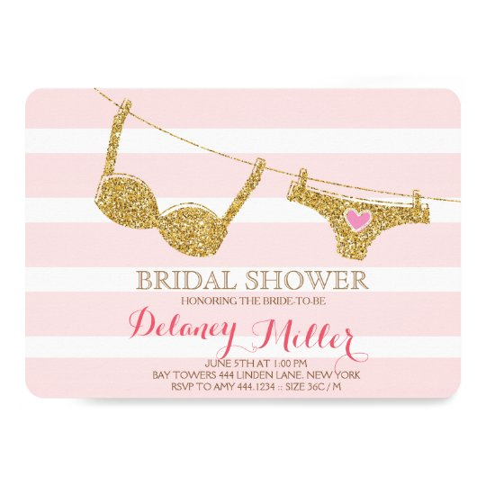 lingerie bridal shower invitation pink gold