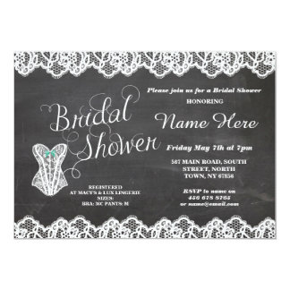 Lingerie Bridal Shower Lace Corset Chalk Invite