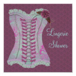 Lingerie Bridal Shower Plum Teal Corset Damask Custom Announcement