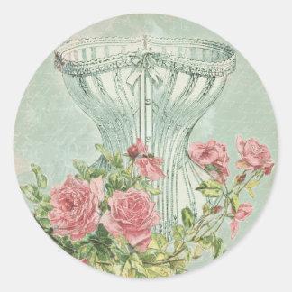 Lingerie Bridal Shower Seals Vintage Pink Roses Classic Round Sticker