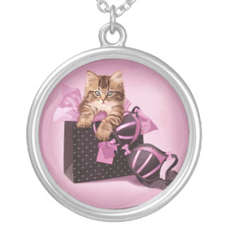 Lingerie Kitten Silver Plated Necklace
