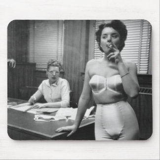 Lingerie model smoking in an office mouse pad