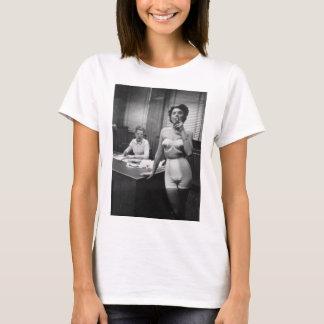 Lingerie model smoking in an office T-Shirt