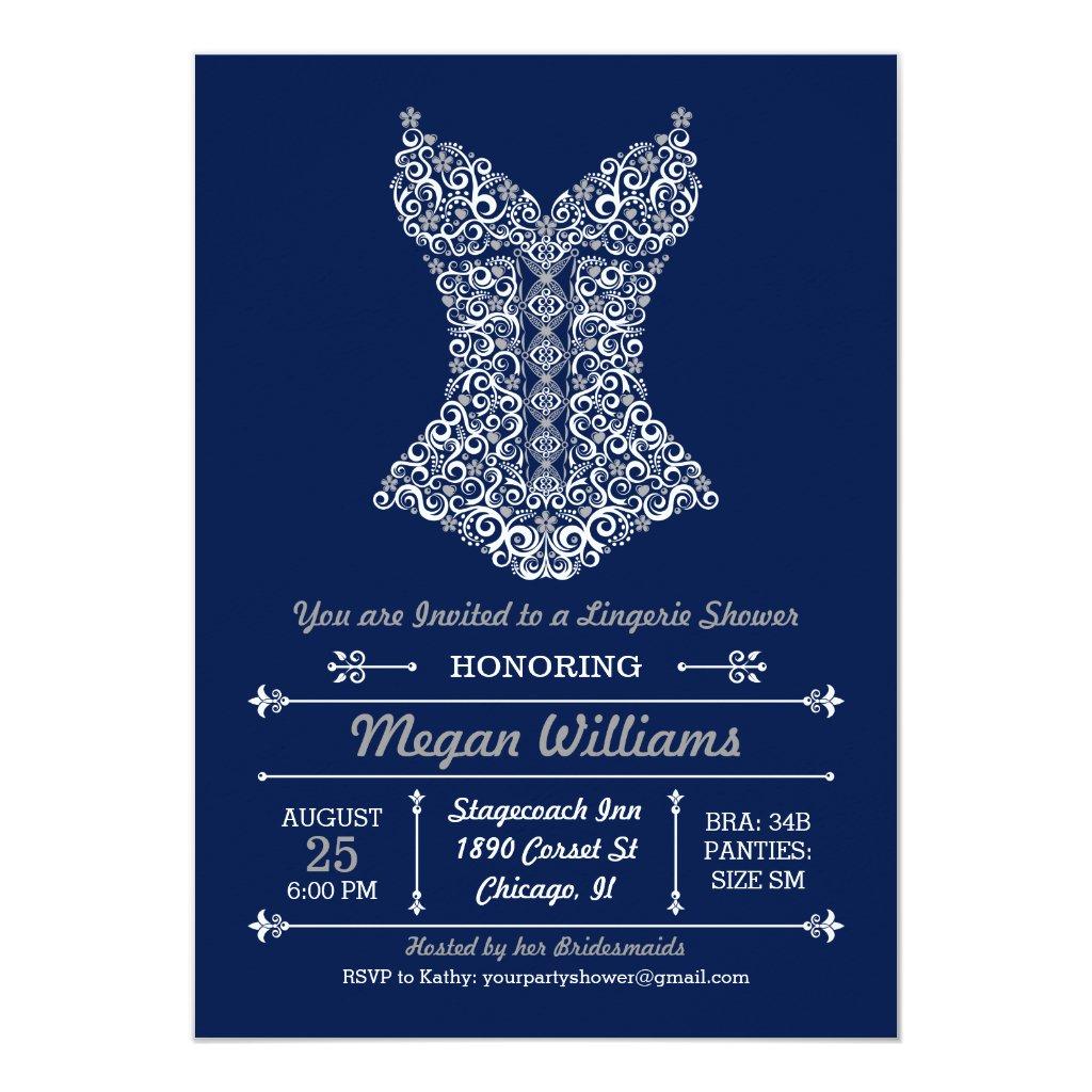 Vintage Lingerie Party Invitations for Bridal Shower or Bachelorette