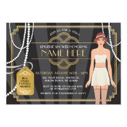 Lingerie Shower 1920s Bridal Pearl Brunette Invite