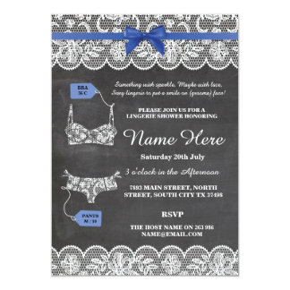 Lingerie Shower Bridal Party Blue Bow Lace Invite