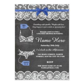 Lingerie Shower Bridal Party Blue Bow Lace Invite