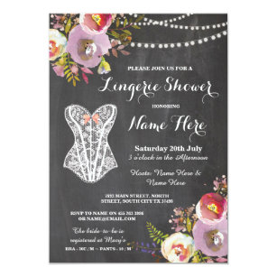 Lingerie bridal shower invitations announcements zazzle lingerie shower bridal party chalk floral invite filmwisefo