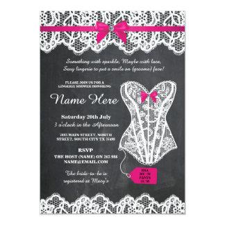 Lingerie Shower Bridal Party Chalk Lace Bow Invite