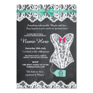 Lingerie Shower Bridal Party Chalk Lace Invite