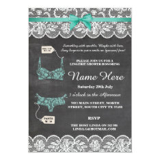 Lingerie Shower Bridal Party Chalk Lace Invite at Zazzle