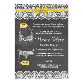 Lingerie Shower Bridal Party Gold Bow Lace Invite